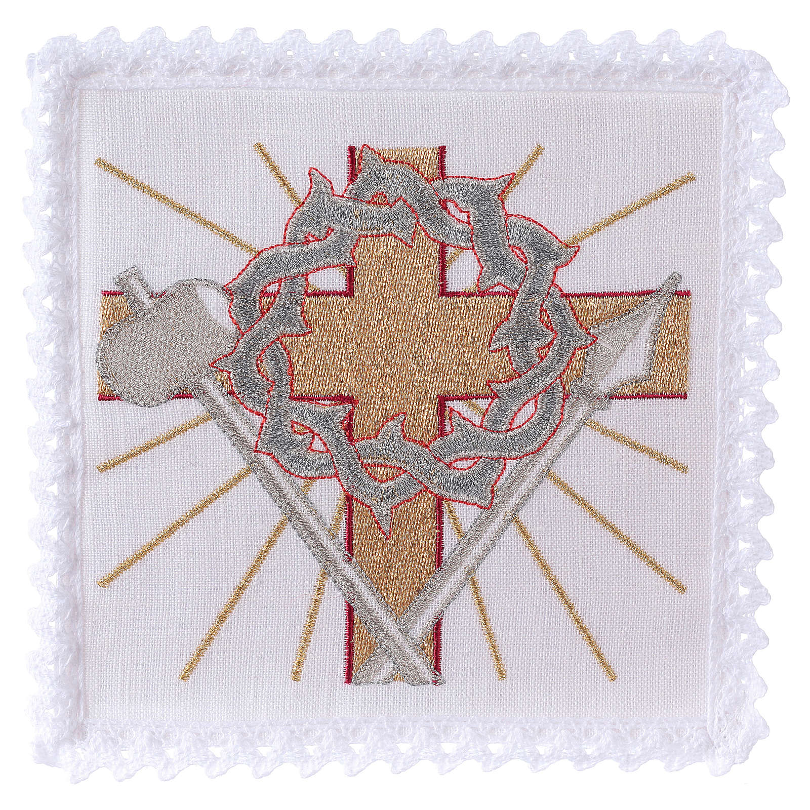 Altar linen cross spear & crown of thorns 4