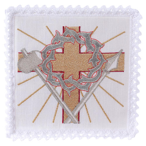 Altar linen cross spear & crown of thorns 1