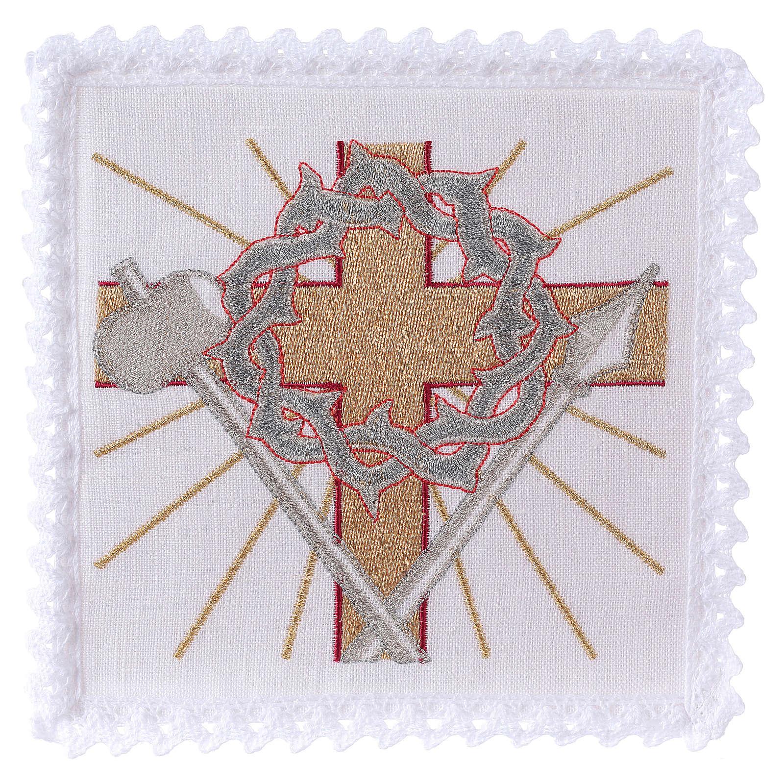 Servizio da altare lino croce lancia corona di spine 4
