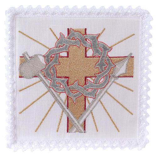 Servizio da altare lino croce lancia corona di spine 1