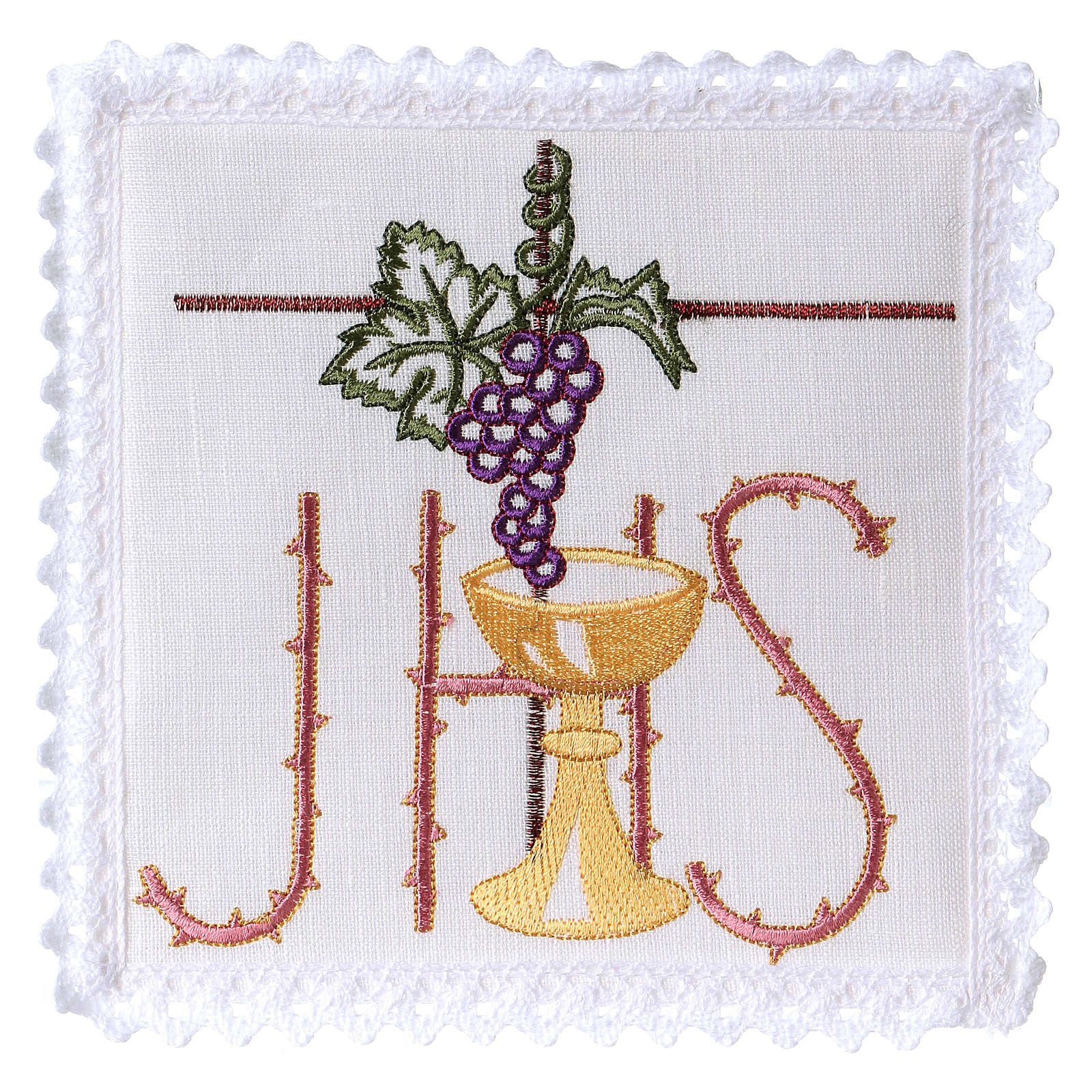 Servicio de altar hilo cáliz hoja uva símbolo JHS con espinado 4