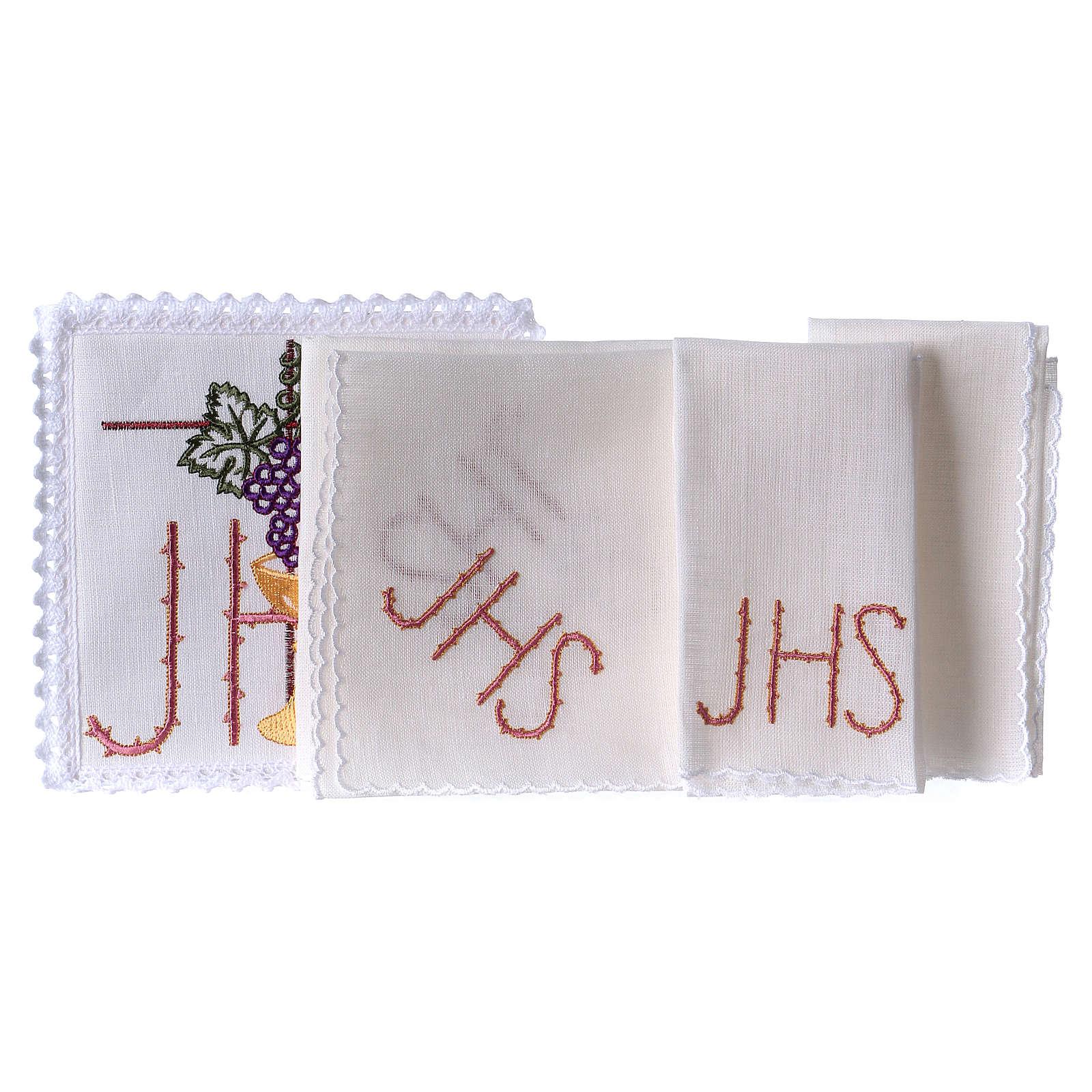 Servizio da altare lino calice foglia uva simbolo JHS spinato 4