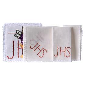 Servizio da altare lino calice foglia uva simbolo JHS spinato s2