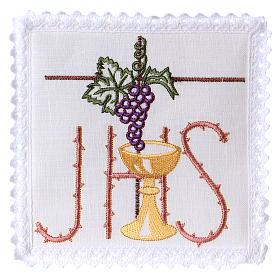 Conjunto altar linho cálice folha uva símbolo IHS espinhado s1