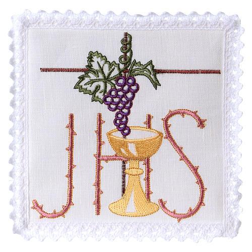 Conjunto altar linho cálice folha uva símbolo IHS espinhado 1