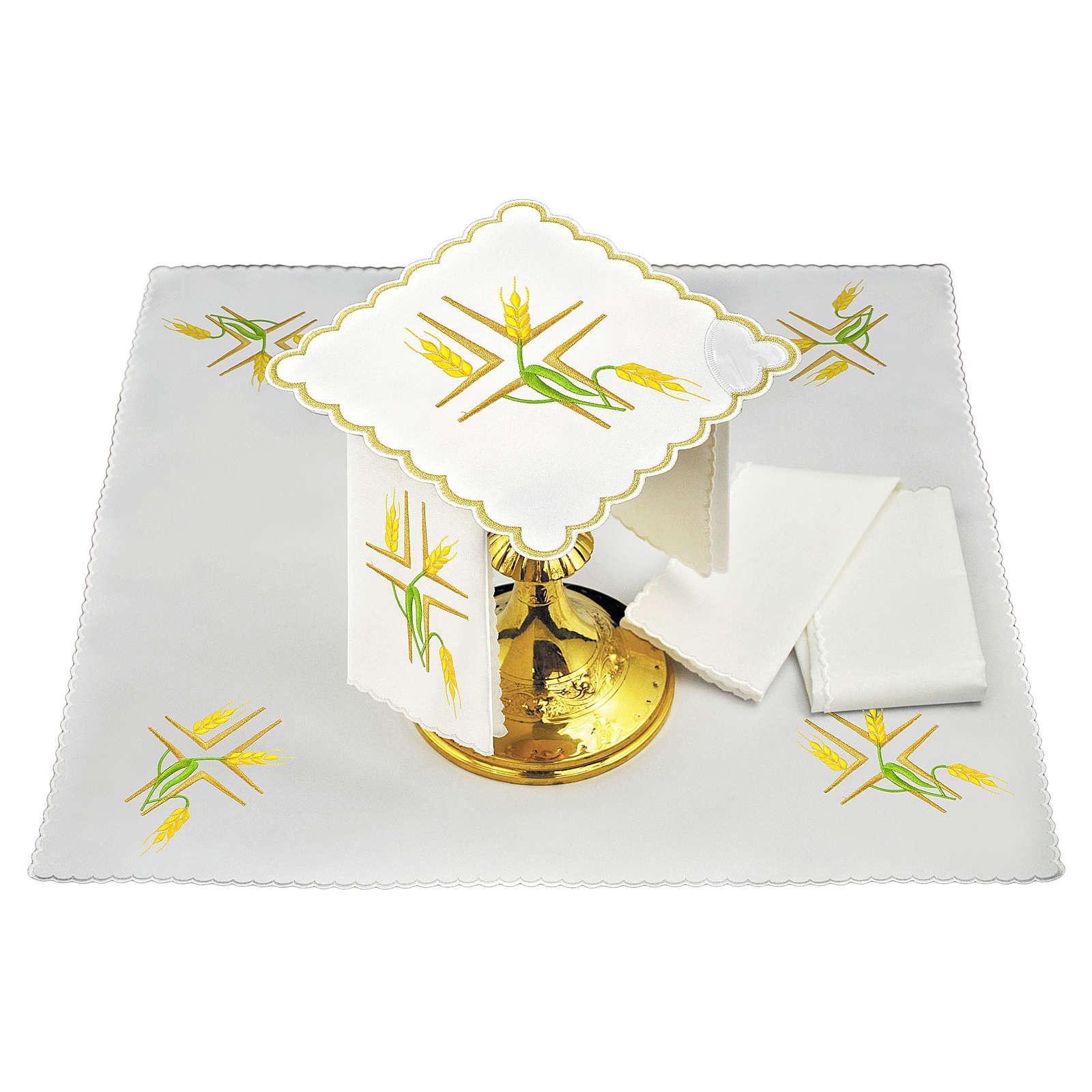 Servizio da altare lino spighe gialle e stelo verde 4