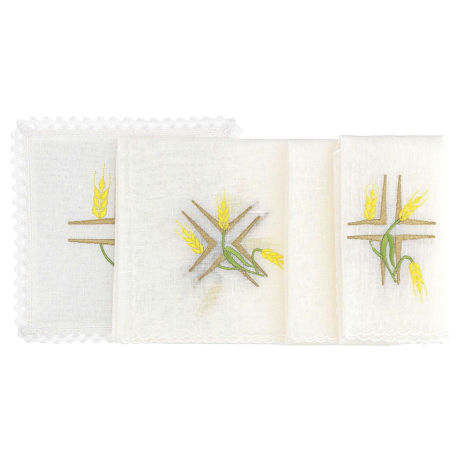 Conjunto altar linho espigas trigo amarelas e caules verdes 4