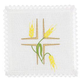 Conjunto altar linho espigas trigo amarelas e caules verdes s1