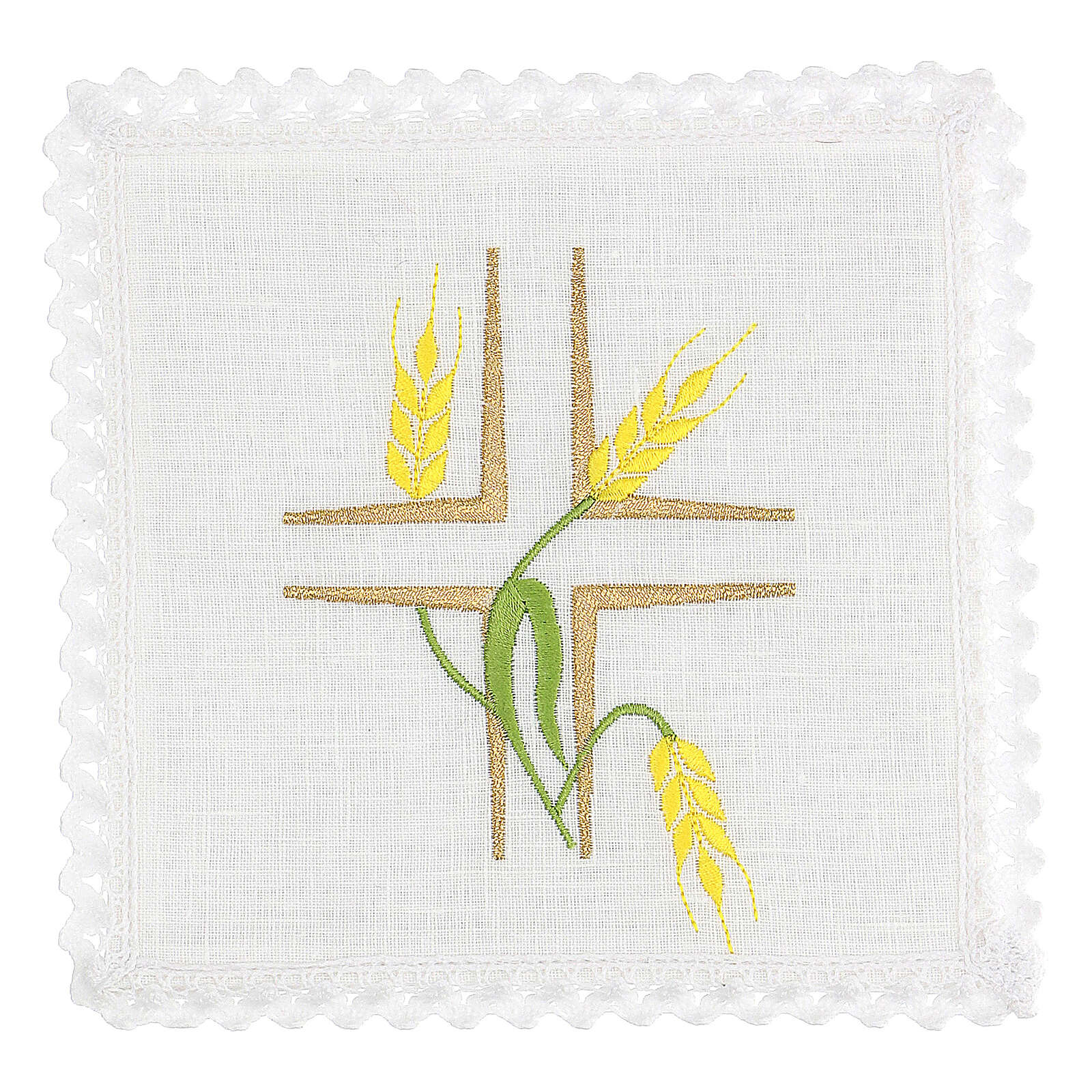 Church cloth set yellow wheat and green stem 4
