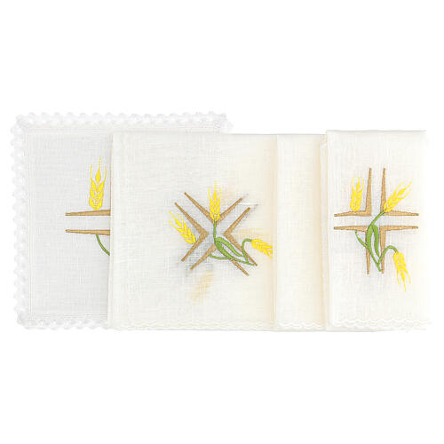 Church cloth set yellow wheat and green stem 2