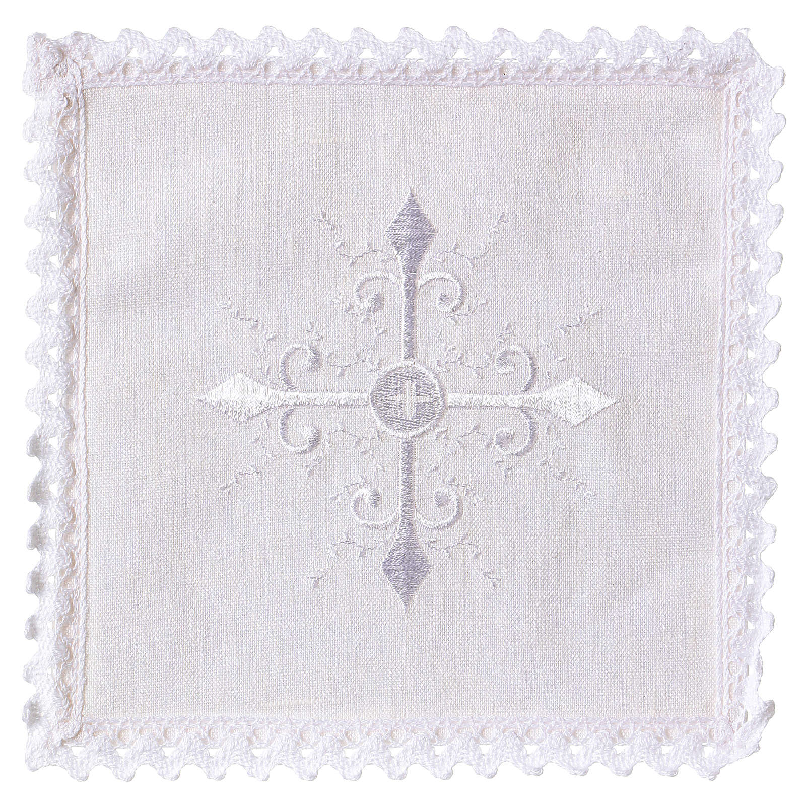 Altar linen white embroideries and baroque cross 4