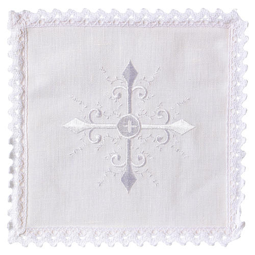 Altar linen white embroideries and baroque cross 1
