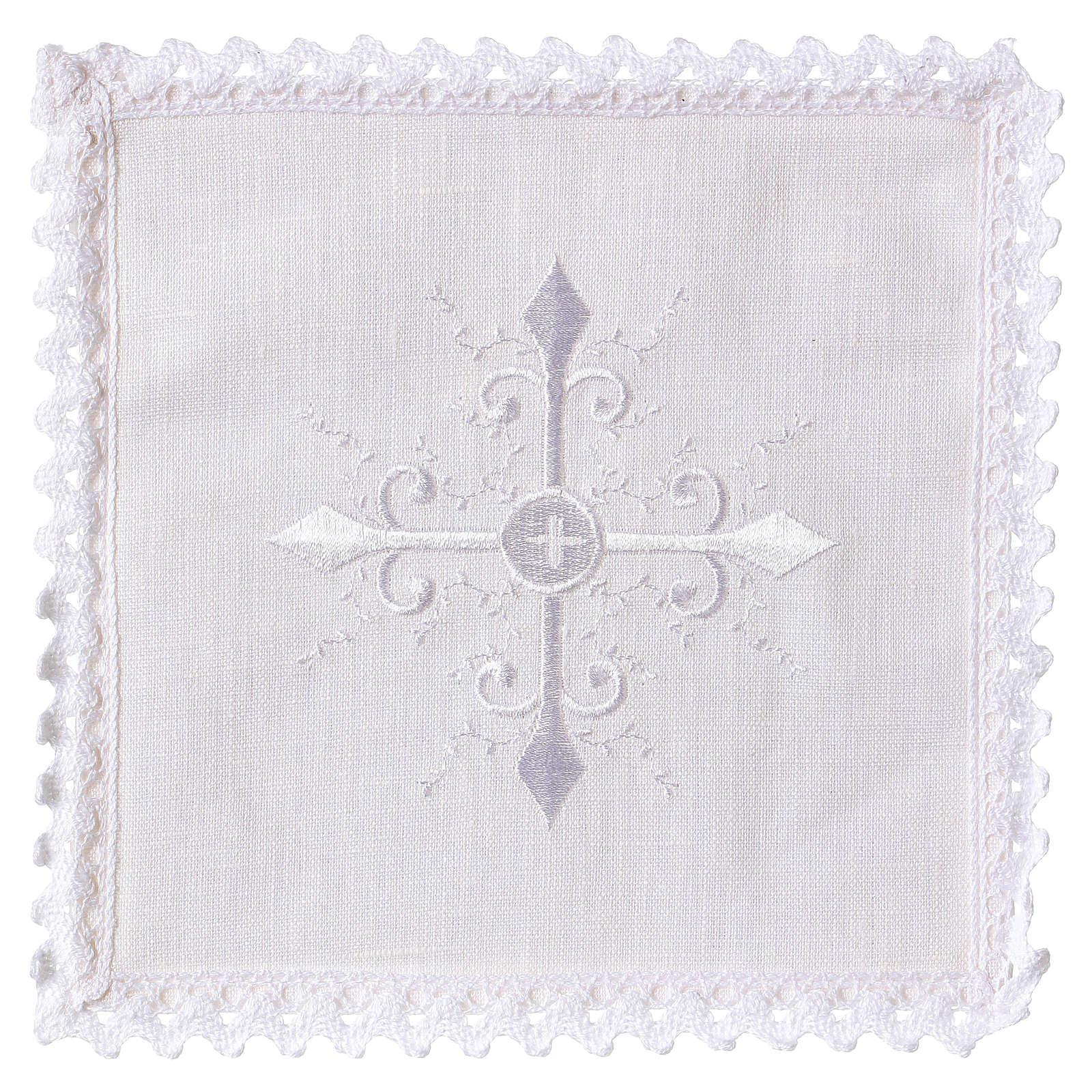 Servizio da altare lino ricamo bianco croce barocca 4