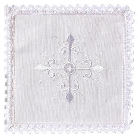 Servizi da messa e conopei: Servizio da altare lino ricamo bianco croce barocca