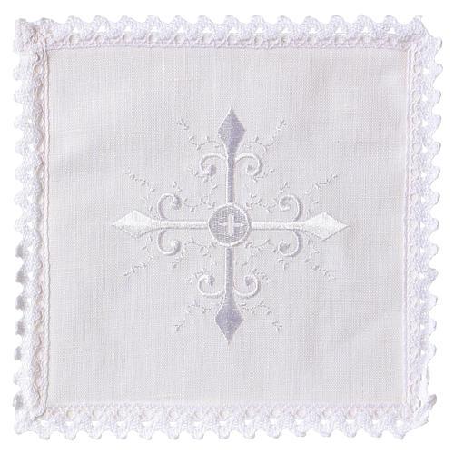 Servizio da altare lino ricamo bianco croce barocca 1