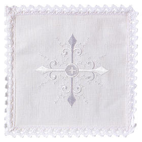 Altar linens: Altar linen white embroideries and baroque cross