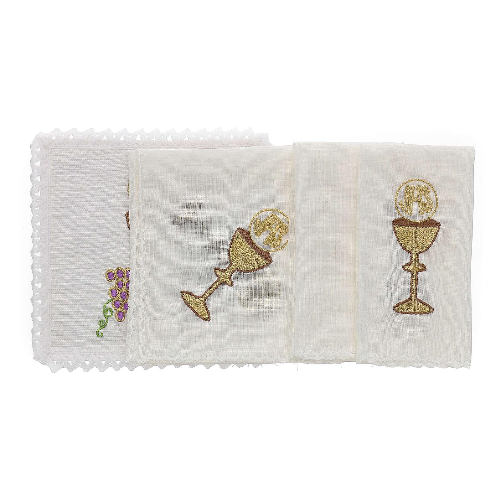 Linge autel lin raisin contours dorés calice hostie IHS 4