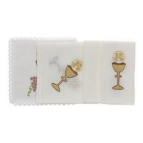 Linge autel lin raisin contours dorés calice hostie IHS s2