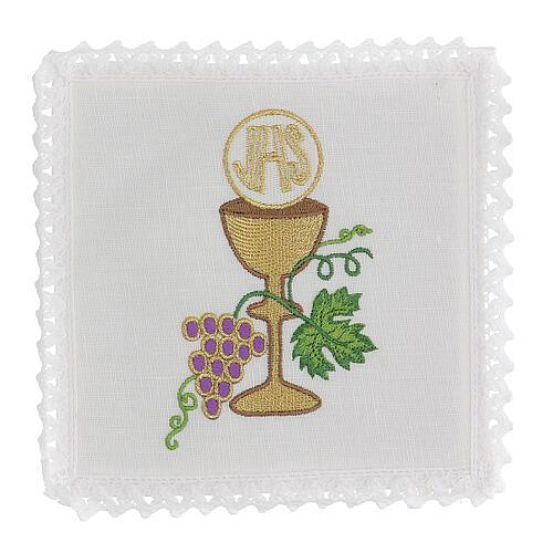 Linge autel lin raisin contours dorés calice hostie IHS 1