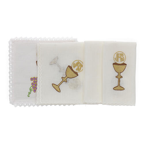 Linge autel lin raisin contours dorés calice hostie IHS 2