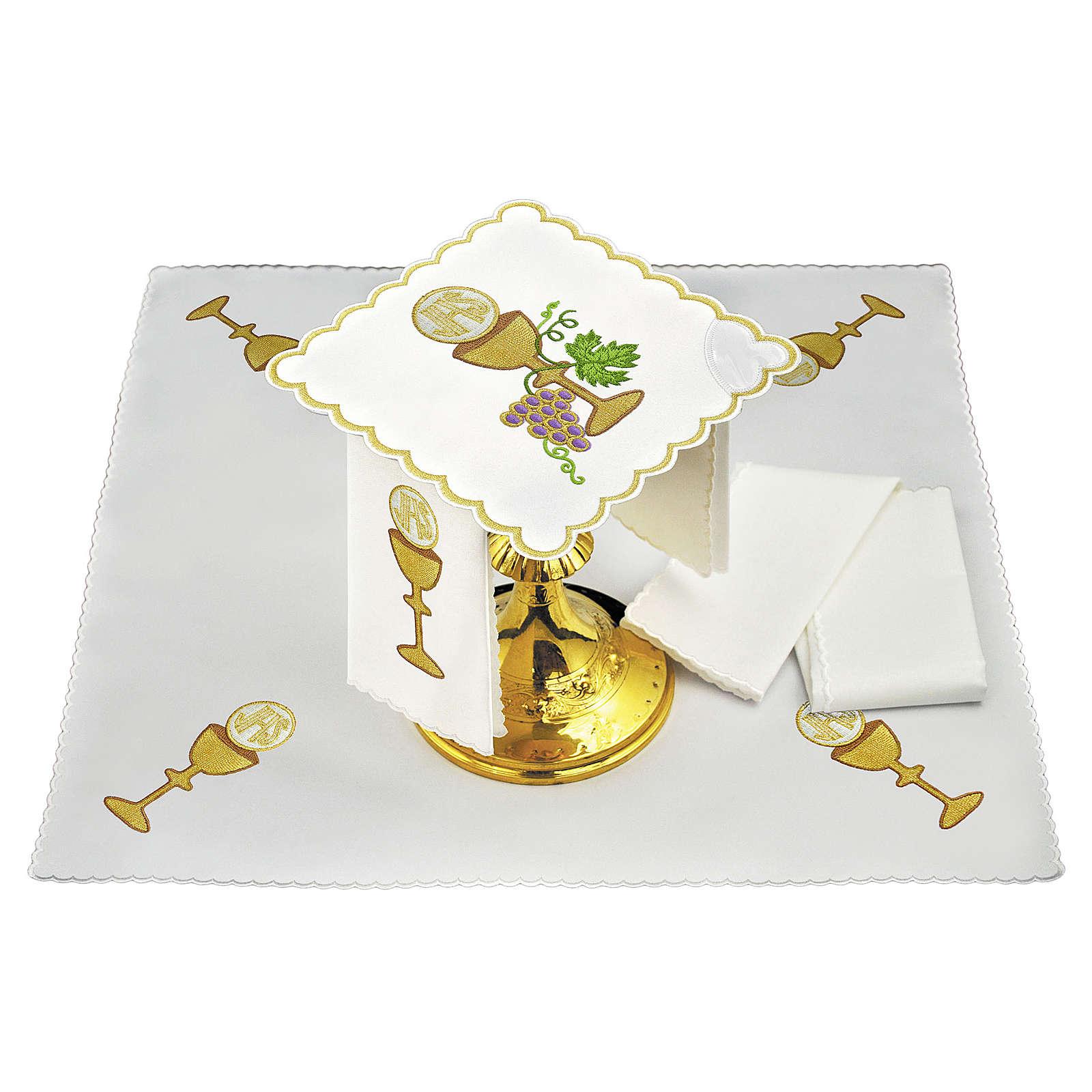 Servizio da altare lino uva contorni dorati calice ostia JHS 4