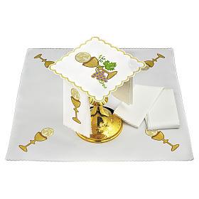 Servizio da altare lino uva contorni dorati calice ostia JHS s1