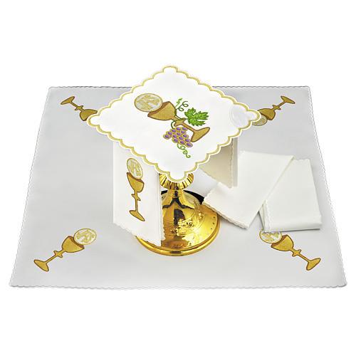 Servizio da altare lino uva contorni dorati calice ostia JHS 1