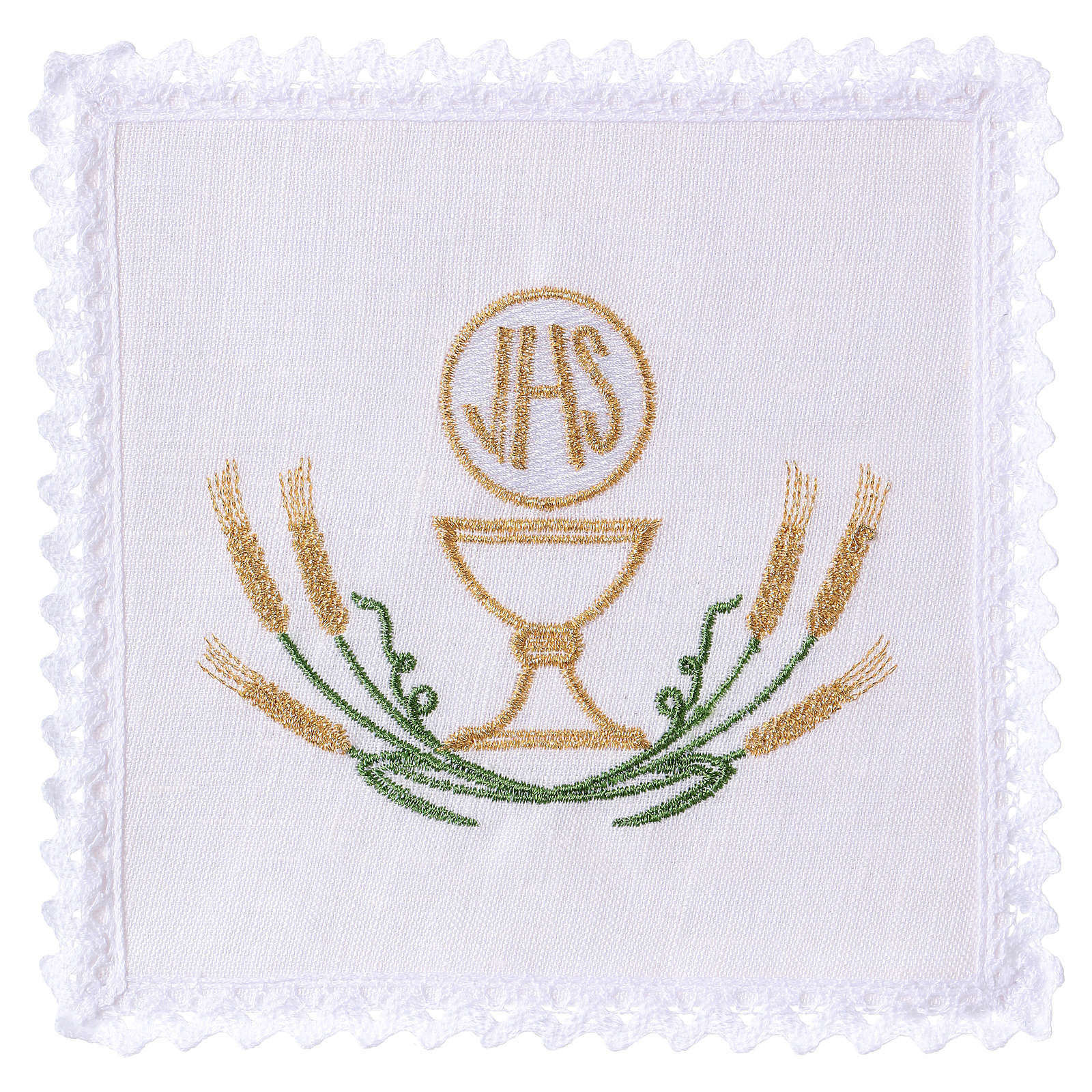 Altar linen stylised green yellow spikes, chalice and JHS 4
