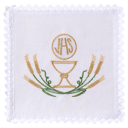 Altar linen stylised green yellow spikes, chalice and JHS 1
