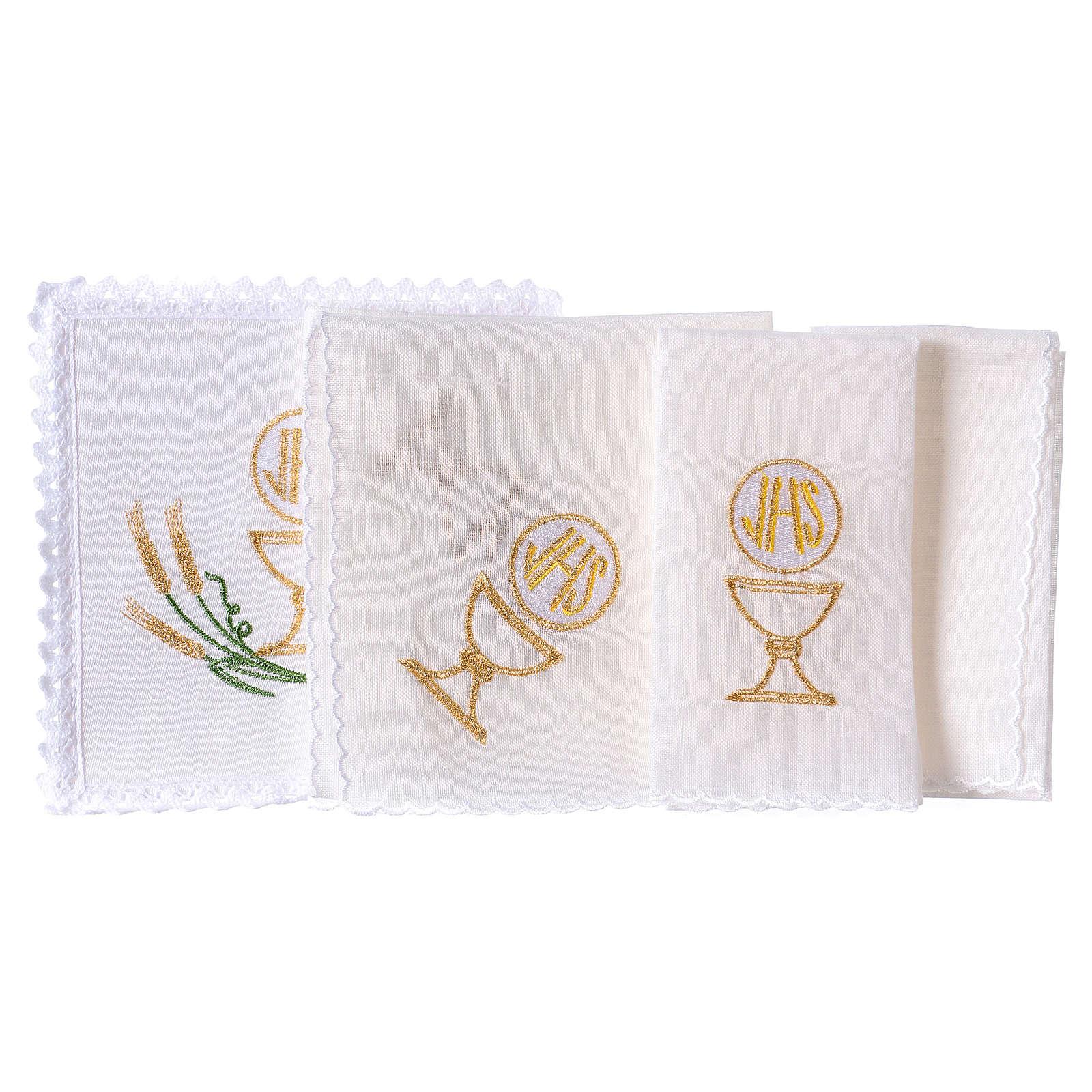 Linge autel lin épis stylisés jaune or vert calice IHS 4