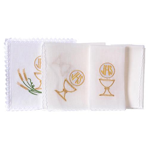 Linge autel lin épis stylisés jaune or vert calice IHS 2