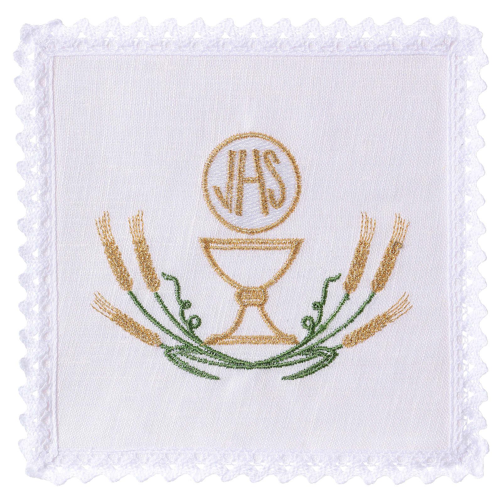 Conjunto alfaia altar linho trigo estilizado amarelo ouro verde cálice IHS 4