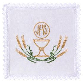 Conjunto alfaia altar linho trigo estilizado amarelo ouro verde cálice IHS s1