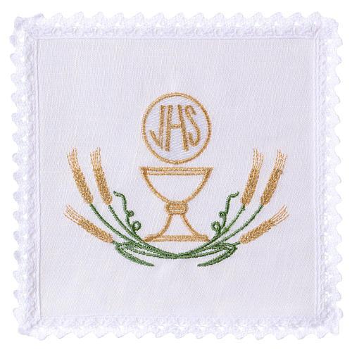 Conjunto alfaia altar linho trigo estilizado amarelo ouro verde cálice IHS 1