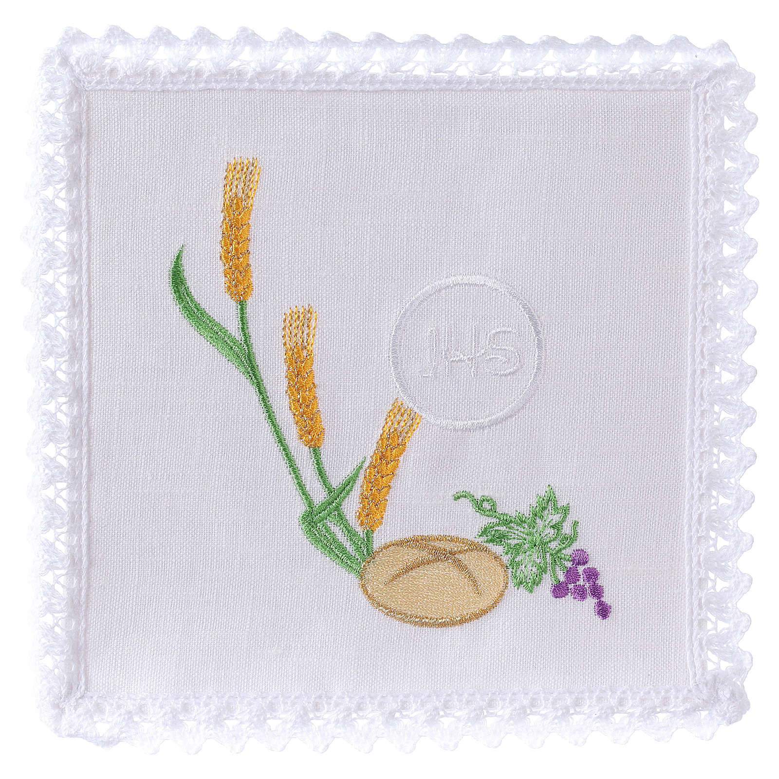Altar cloth set with bread grapes wheat& JHS symbol 4