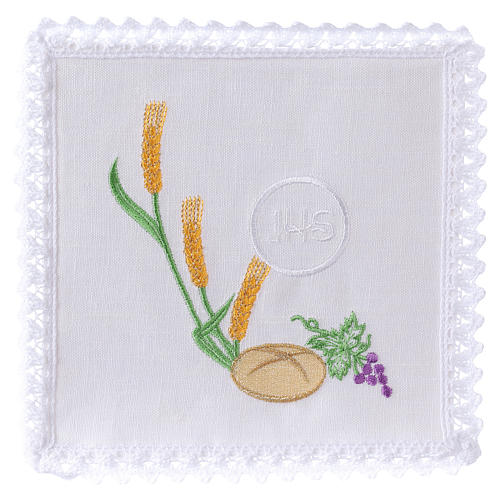 Altar cloth set with bread grapes wheat& JHS symbol 1