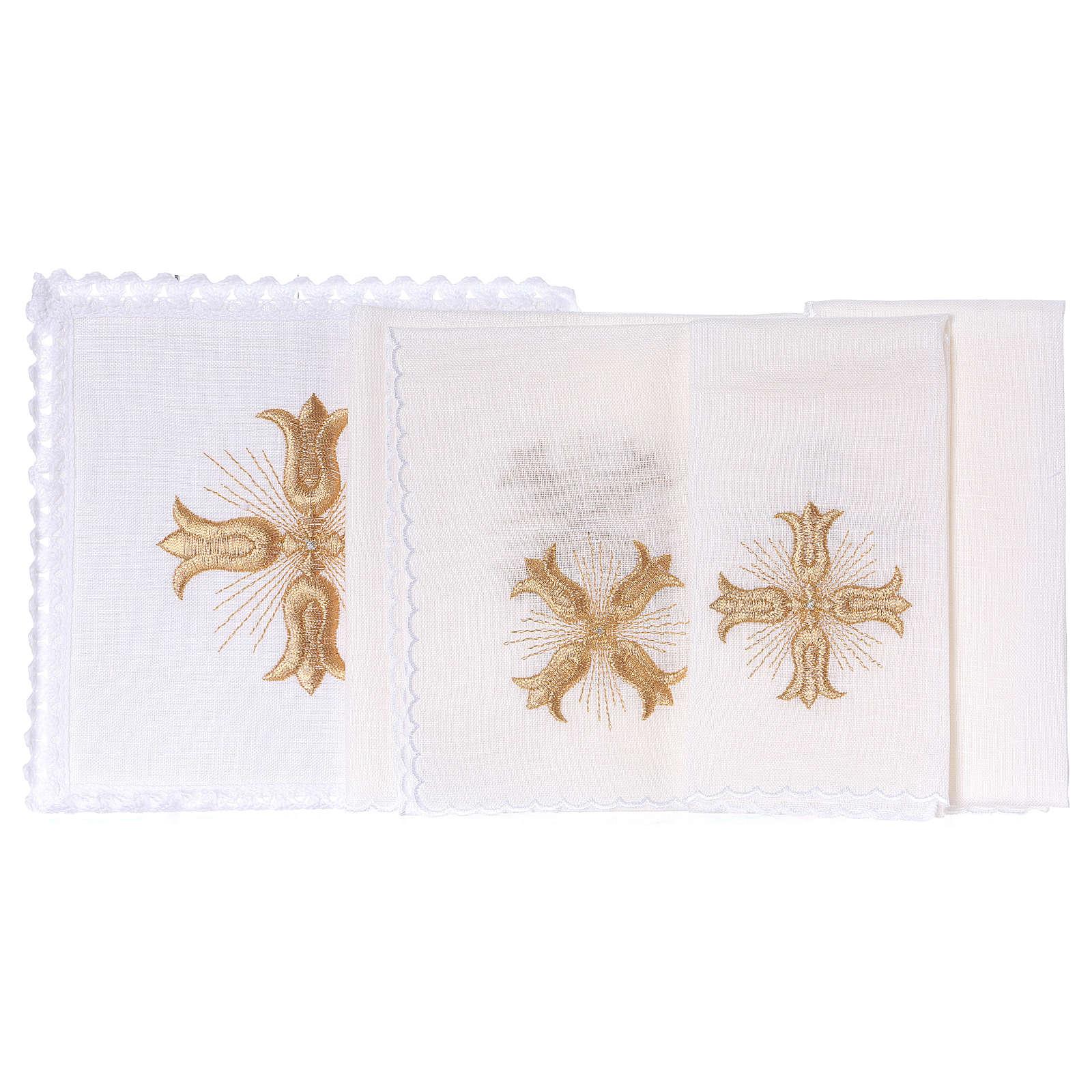 Servicio de altar hilo cruz dorada estilo barroco con rayos 4