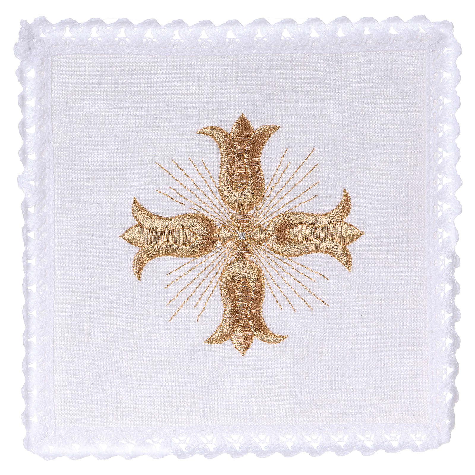 Linge autel lin croix dorée style baroque avec rayons 4