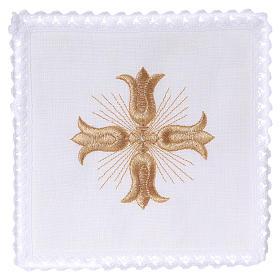 Linge autel lin croix dorée style baroque avec rayons s1