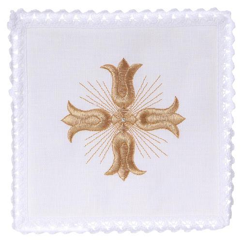 Linge autel lin croix dorée style baroque avec rayons 1