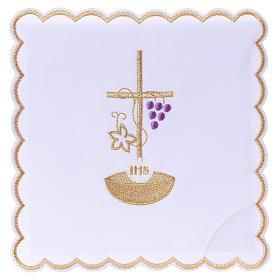 Set linge autel coton corde croix raisin feuille dorée IHS s1