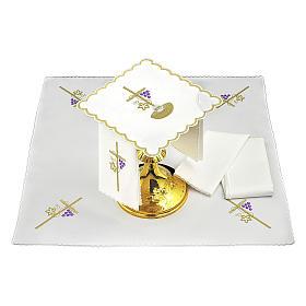 Set linge autel coton corde croix raisin feuille dorée IHS s2