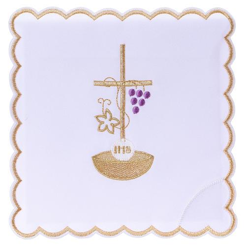 Set linge autel coton corde croix raisin feuille dorée IHS 1