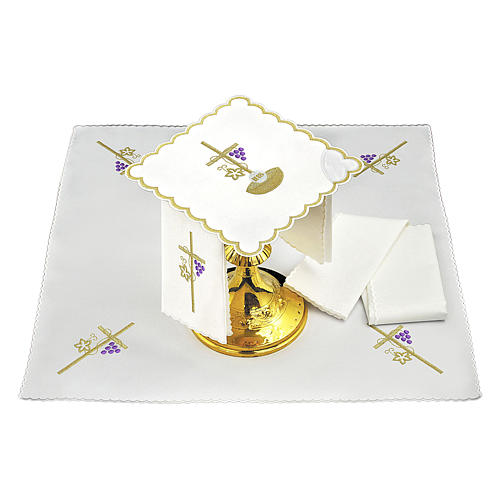 Set linge autel coton corde croix raisin feuille dorée IHS 2