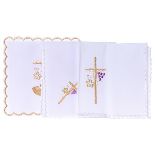Set linge autel coton corde croix raisin feuille dorée IHS 3
