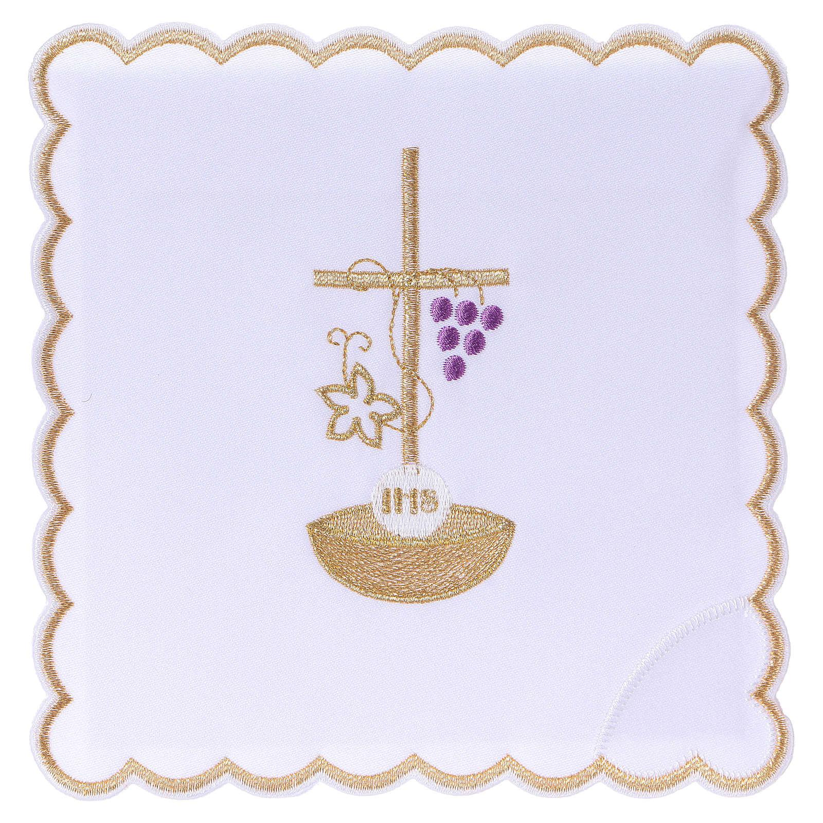 Servizio da altare cotone corda croce uva foglia dorata JHS 4