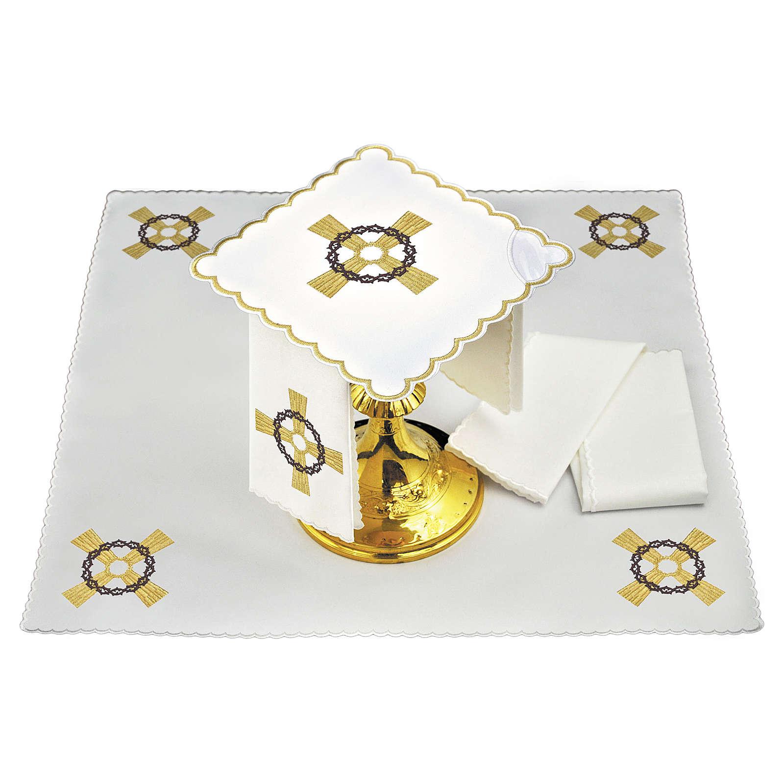 Set linge autel coton croix dorée couronne d'épines 4
