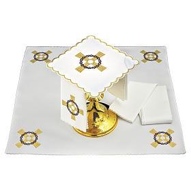 Set linge autel coton croix dorée couronne d'épines s1