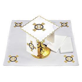 Set linge autel coton croix dorée couronne d'épines s2