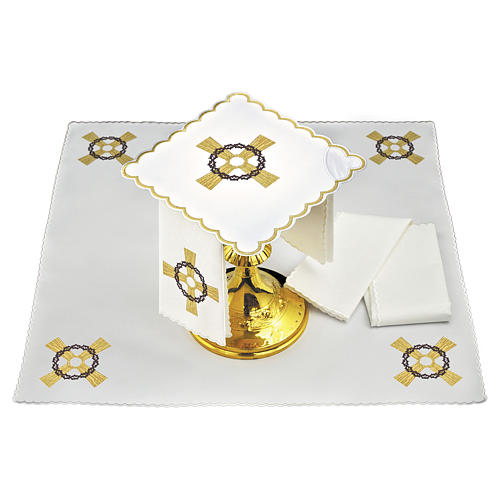 Set linge autel coton croix dorée couronne d'épines 1